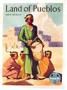 Original vintage poster SANTA FE RAIL LAND OF PUEBLOS 1949
