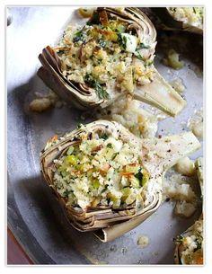 Alcachofas al horno rellenas con puerros