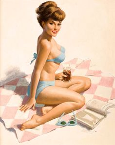 Pin-Up Girl Wall Decal Poster Sticker - Pin-Up on Beach Blanket - Brunette Pinup Pin Up