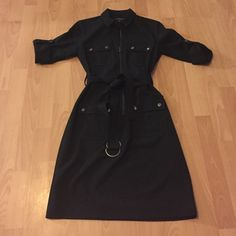 Black belted dress Only worn once. Super cute, zipper and all four pockets fully functional. Sharagano Dresses