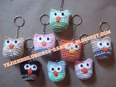 tejido crochet y artesanías: Búhos tejidos.