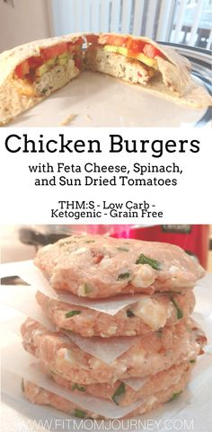 These Spinach and Feta Chicken Burgers pack of punch of protein, have only 6 ing. - These Spinach and Feta Chicken Burgers pack of punch of protein, have only 6 ingredients and are TH - Healthy Low Carb Recipes, High Protein Recipes, Ketogenic Recipes, Paleo Recipes, Cooking Recipes, Ketogenic Diet, Dessert Recipes, Burger Recipes, Healthy Meals