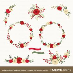 Christmas Wreaths & Flowers Clipart. Christmas Clipart. Floral Christmas Wreaths. 11 images, 300 dpi. Eps, Png files. Instant Download.