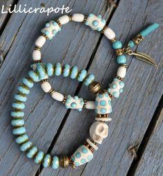 duo de bracelets _ IROQUOIS _ esprit ethno chic _turquoise ivoire _ perles en verre verre filé os pierre nacre : Collier par lillicrapote