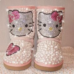 New+Design+pink+genuine+leather+and+white+pearls+with+diamond+hello+kitty+wedding+$177.65