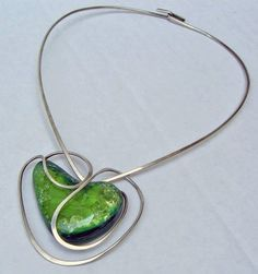 Necklace | Elsa Freund. Silver & Glazed Ceramic | Pre 1960
