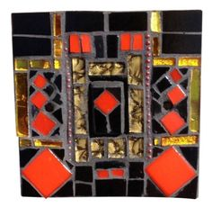 'Nightclub' Light switch in black, red and gold. This mosaic light switch is hand crafted in Murano and Tiffany stained glass. Size 9 x 9 x 1.5 cm. The light switch comes with matching screws and with UK approved standard electrical fitting. Size 9 x 9 x 1.5 cm. Please feel free to send me a message on Pinterest for commissions.