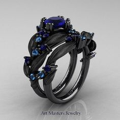 Nature Classic 14K Black Gold 1.0 Ct Blue от DesignMasters на Etsy