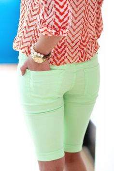 These Easter shorts are adorbs! I just love these! Colorful knee-length shorts from the The Jean Girl Shop
