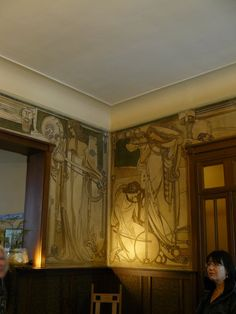 Amazing art nouveau wall mural needs elves and dragons and warriors and magicians. Like three magicians dancing under the night sky, though not in this art style. Art Nouveau Interior, Art Nouveau Furniture, Art Nouveau Design, Antique Furniture, Jugendstil Design, Art Deco, Disney Concept Art, Cool Art Projects, Arts And Crafts Movement