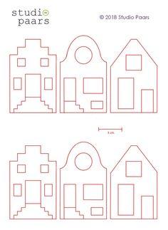 Studio Paars - hollandse huisjes van vilt patroon/ dutch houses of felt pattern Diy Projects To Try, Projects For Kids, Diy For Kids, Crafts For Kids, Victorian Dollhouse, Modern Dollhouse, Felt House, Dutch House, Christmas Window Decorations