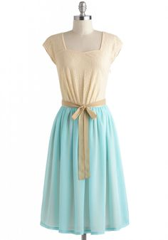 Sweet on Blue Dress - Tan / Cream, Mint, Lace, Belted, A-line, Cap Sleeves, Party, Daytime Party, Vintage Inspired, Fairytale, Spring