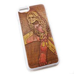 Чехол для iPhone 6 из дерева кусия, ручная работа, девочка Железный Человек