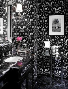 49 Amazing Spring Bathroom Designs : 49 Amazing Spring Bathroom Designs With Black Bathroom Wallpaper And Marble Vanity And Wall Mirror Design Spa Bathroom Design, Bathroom Interior, Bathroom Ideas, Bathroom Small, Basement Bathroom, Bathroom Vanities, Modern Bathroom, Master Bathroom, Black White Bathrooms