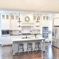 Kitchen Makeover 69 Top Built In Microwave Cabinet Inspirations For Beautiful Kitchen Kitchen Redo, Home Decor Kitchen, Home Kitchens, Kitchen Ideas, Condo Kitchen, Cheap Kitchen, Off White Kitchen Cabinets, Tall Cabinets, Open Kitchen And Living Room