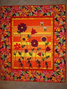 PATTERN PDF Bright Quilt Flowers and Ants Bees  by pixieharmony, $5.95