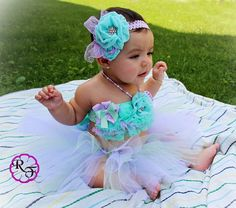 Tutu girl outfit   mint and lavender baby girl outfit for