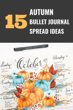 15 Cozy Fall Bullet Journal Ideas That You NEED To See! -Hello Halloween, crisp weather, cozy sweaters and all the hot drinks. With a mood like that, you NEED to pay special attention to creating the perfect fall bullet journal theme! Click to read more. Monthly Bullet Journal Layout, Bullet Journal Washi Tape, Bullet Journal Mood Tracker Ideas, Bullet Journal Themes, Bullet Journal Inspiration, Journal Ideas, Bullet Journals, Journal Art, Autumn Bullet Journal