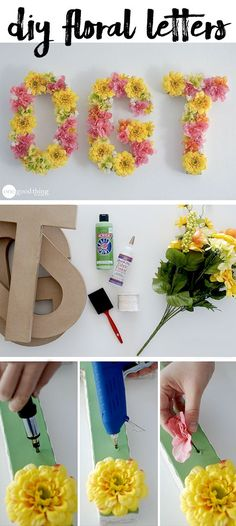 "Use silk flowers to decorate paper mache letters and instantly bring a little ""springtime"" to any space!"