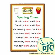 Fast Food Takeaway Role Play Resources - Primary Treasure Chest Teaching Activities, Teaching Ideas, Ourselves Topic, Candy Shop, Role Play, Oclock, Treasure Chest, Sweets, Foods