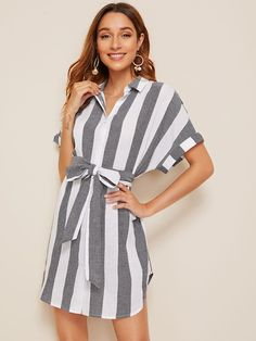 Shop for Cuffed Belted Striped Shirt Dress by Shein at ShopStyle. Striped Shirt Dress, Gray Dress, Pop Fashion, Fashion News, Casual Dresses, Dresses For Work, Korean Fashion Casual, Scarf, Hooded Dress