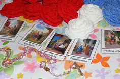 Ten kids and a Dog: Roses for Our Lady-Saying the Rosary with Little Children and link to printable Mysteries of the Rosary cards.