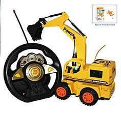 Bezrat 5 channel RC Remote Control Excavator for Kids. Durable, Fun and Easy to Control w/ Motion Steering Wheel Sensor Controller with Lights & Sounds (colors may vary) FREE GIFT INCLUDED. toys4mykids.com