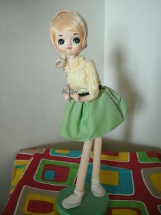 Vintage Big Eyed Bradley Pose Stockinette Doll 1960 Japan 15 in Tall Big Eye ~ Sold for $36.99