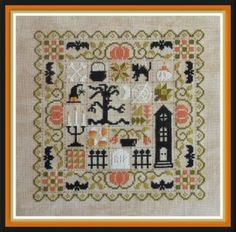 """""""Patchwork Halloween"""" is the title of this cross stitch pattern from Jardin Prive - a delightful patchwork of Halloween motifs to stitch!"""