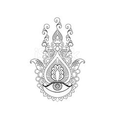 A sketch of a beautiful hamsa on a white background.