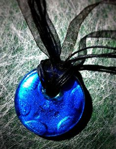 Persian BLUE GLASS PENDANT necklace by LePetitMonkey on Etsy, $15.00