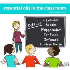 Essentials oils in the classroom! OnGuard for clueing the air. Peppermint for focus (increase those test scores). Lavender for calming.