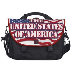 The United States of America with USA flag Laptop Commuter Bag   •   This design is available on t-shirts, hats, mugs, buttons, key chains and much more   •   Please check out our others designs at: www.zazzle.com/ZuzusFunHouse*