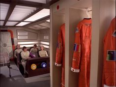 Interior, passenger module of Eagle set from the the television show Space: 1999. Spacesuits in the foreground.