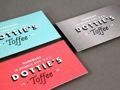 Dottie's Toffee Business Cards designed by Fuzzco™. Business Branding, Business Card Design, Creative Business, Business Cards, Graphic Design Branding, Typography Design, Logo Design, Identity Design, Print Packaging