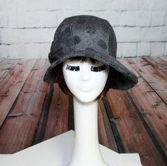 Cloche Hat Bow Grey Knit Polka Dots Asymmetrical by Bellastarrhats