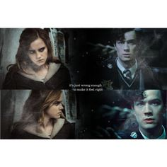 """Just keep on keeping your eyes on me, it's just wrong enough to make it feel right."" Tom Riddle, Hermione Granger, Tomione."