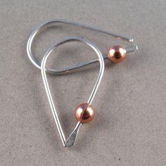STERLING SILVER HOOP sleeper wire earrings by CecileStewartJewelry