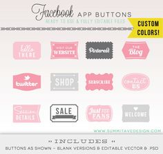CUSTOM Colored - Facebook Timeline Tab Images - App buttons - social icons. $18.00, via Etsy.
