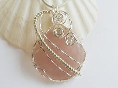 Wire Wrapped Pendant Jewelry Handmade Rose Quartz by elainesgems, $26.00