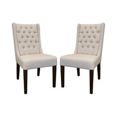 Generously button tufted, each of these dining chairs is a stunning sight to behold. Boasting high, armless backs, these Leandra Tufted Dining Chairs will add a classy touch of modernity to any designa...  Find the Leandra Tufted Dining Chairs - Set of 2, as seen in the Accent Chairs Collection at http://dotandbo.com/category/furniture/chairs/accent-chairs?utm_source=pinterest&utm_medium=organic&db_sku=116743
