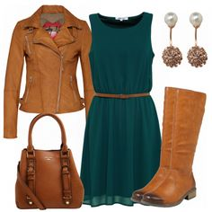 GreenDress Outfit - Leisure Outfits at FrauenOutfits. Teal Outfits, Colourful Outfits, Fashion Outfits, Classy Casual, Classy Outfits, Cute Outfits, Fall Capsule Wardrobe, Capsule Outfits, Warm Autumn