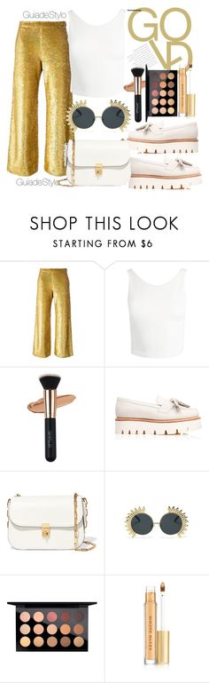 """GOLD."" by guiadestylo ❤ liked on Polyvore featuring Ashish, Sans Souci, Grenson, Valentino, MAC Cosmetics and Kevyn Aucoin"