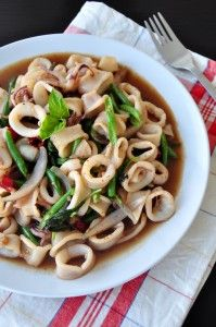 thai fried squid with basil leaves thai fried squid with basil leaves ...