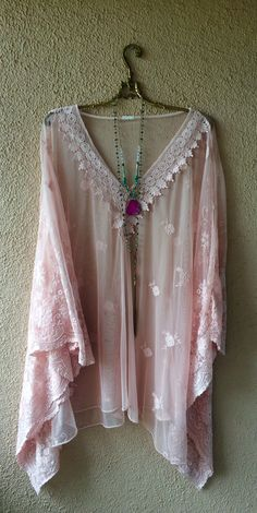 Image of Holiday getaway Italian flowy sleeve beach tunic for resort with floral embroidery and crochet trim