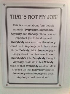 That's not my job story about 4 people named Everybody... Somebody...Anybody...Nobody...