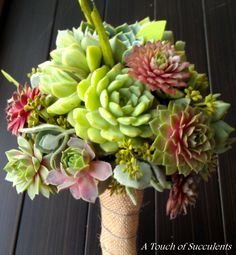 Succulent Wedding Bouquet, Rustic Bouquet, Alternative Bouquet, Bridal Bouquet, Yellow bouquet, Fall Bouquet,Green Bouquet. $125.00, via Etsy.
