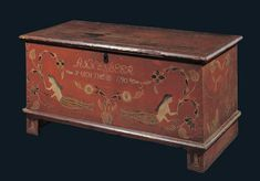 Artist unidentified  Pennsylvania  1790  Paint on pine with iron hardware  24 3/4 x 50 1/2 x 23 3/4 in. In German folklore, the mermaid is associated with childbirth and domestic households. These mermaids wear coral necklaces for protection; knotted embellishments, which abound on this painted chest, add to the notions of never-ending love and protection.