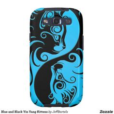 Blue and Black Yin Yang Kittens Samsung Galaxy Case Galaxy S4 Case, Samsung Galaxy Cases, The Pussycat, Yin Yang, Iphone Case Covers, Plastic Case, Kittens, Dark, Blue