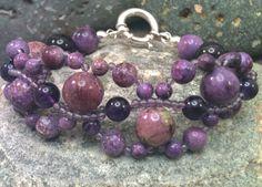 CarpeDiem - Samsara - Charoite, Amethyst - Genuine Gemstone Bracelet - RootieBirds Chakra Your Karma